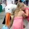 May 9, 2008: Roarke the Stork greets a couple of girls visiting the May-Retta Daze festival on the Marietta town square.